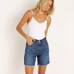 Levi's 501 Mid Thigh Shorts Cutoff Frayed Denim